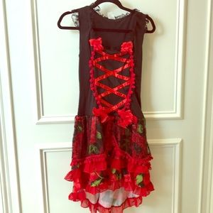 Red and black dress